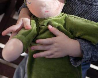 READY TO SHIP. Green Waldorf heavy baby doll stuffed with millet lavender scent. Weighted baby doll 14 ""