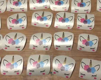 Unicorn decals for mugs. Can be personalised. Blue, purple, pink. Made in Scotland.