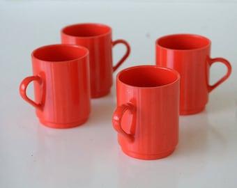 MUGS Mod Orange - OBLIQUE pmc Mid Century Danish Mad Men Eames Coffee Morning Shop  Set of 4 * Panton  TheHeartTheHome.com 7
