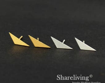 4pcs (2 Pairs) Silver, Golden  Triangle Stud Earring, Nickel Free, High Quality Brass Earring Post - ED415
