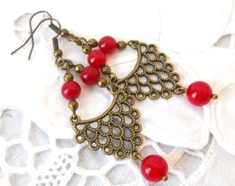 red bohemian earrings red gypsy earrings boho earrings red jade earrings red jade boho earrings red dangle earrings