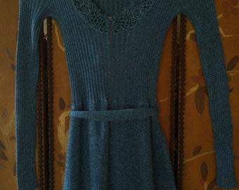 70s Blue Metallic skinny rib maxi evening dress by Wenjilli, Hong Kong
