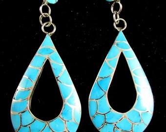 "Zuni Artist~""Carmichael Haloo""~Contemporary~Kingman Turquoise~Inlay~925 Earrings"