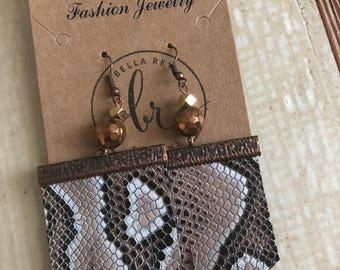 Snakeskin fringe earrings