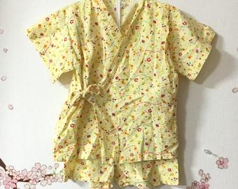 Toddler Kimono Costume, Cute Outfits For Girls, Yellow Sakura Design, Baby Kimono, Child Kimono, Baby Gifts, Baby Jinbei, Photo Prop Idea
