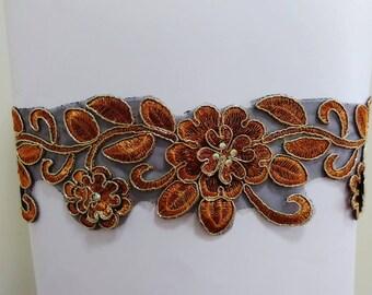Brown gold flower sash, Rhinestone floral sash, Bridal sash, Jeweled sash, Beaded sash, Wedding gown sash, Lace belt, Dress sash belt
