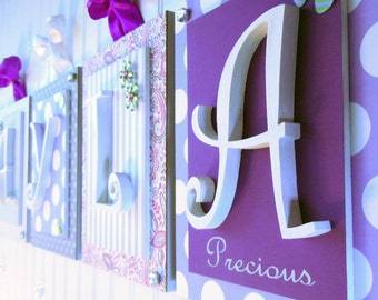 Nursery letters,Purple nursery letters, Purple and gray nursery,Personalized Wall Letters,Hanging Wall letters,Nursery Plaques, Girls Art