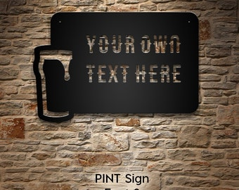 Custom Beer Glass Bar Sign - Your Custom Words Man Cave or Game Room