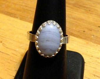 Arthritis Ring Blue Lace Agate on sterling silver band that opens slightly to clear knuckle Custom made by me in USA 14x10 in crown setting