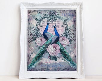 Vintage Style Peacock Art Print, Shabby French Peacock Wall Decor, Antique  Pink Roses And