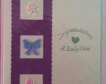 Handmade card for birth of Baby Girl; Congratulations; It's a girl; A New Baby Girl