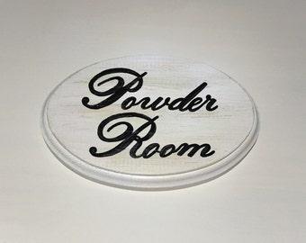 Adorable Bathroom Sign (Powder Room) (5x7) (white)