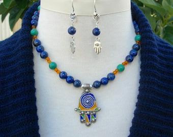 Small Moroccan Enameled Silver Hamsa, Hand of Fatima, Lapis & Green Jade Beads, Fancy Hamsa Earrings, Necklace Set by SandraDesigns
