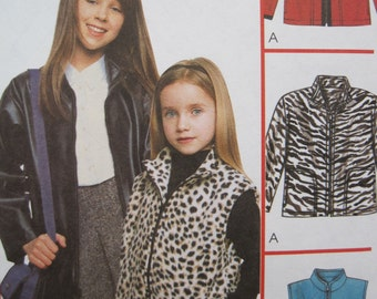 UNCUT Childrens and Girls Jacket or Vest - McCalls Pattern 3350 - Various Sizes