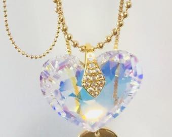 Swarovski Heart shape crystal multiple chains necklace