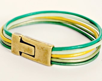 Eco-Friendly Green Leather Cuff Bracelet with Magnetic Clasp