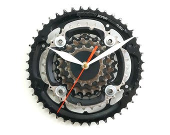 Bike Wall Clock, Bicycle Clock, Mountain Bike Clock, Cycling Decor, Bike Gift Clock, Decor Art, Bike Gear Clock, Office Sprocket Clock