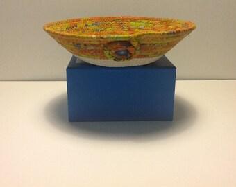 Natural Coiled Rope and Orange Batik Bowl,  Fabric Bowl,   Catchall Basket,  Organizer Basket, Quiltsy Handmade