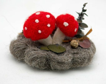 Needle Felted Mushrooms Tiny Treasures Needle Felted Woodland Scene With Mushrooms