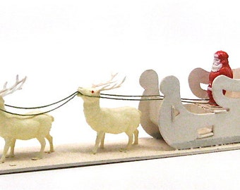 Vintage Celluloid Santas Sled and Reindeer Japan c1940