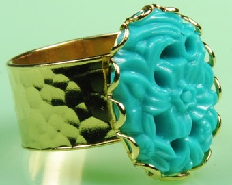 Turquoise Lucite Floral Adjustable Ring