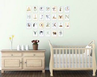 Printable Alphabet Letters, Animal Alphabet, Printable Flash Cards, Nursery Art, Alphabet Wall Cards, ABC Nursery, PDF Download 5x7