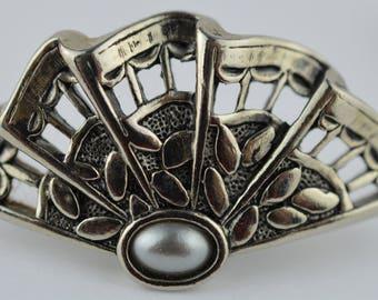 Vintage Silver Fan Faux Pearl Clip On Earrings