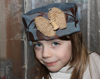 Medieval style fabric and denim Hat Recycle
