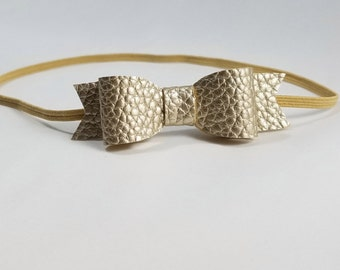Gold Leather Headband. Tiny Bow Headband, Tiny Bow Headbands, Tiny Gold Bow, Gold Bow Headband, Newborn Headbands Bow, Dainty Bow Headband