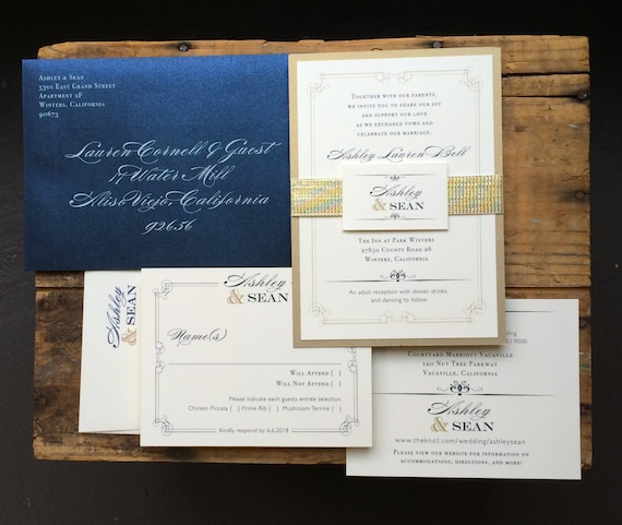 Navy and Gold Wedding Invitations Navy Wedding Invitation