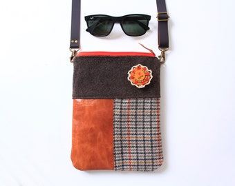 Crossbody bag made out of wool, Spanish leather, and cotton, orange, brown, squares