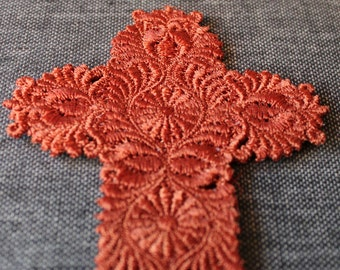 Ornate Cross Lace Bookmark Bronze Embroidery