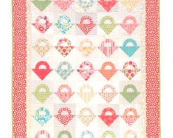 Clearance PATTERN TISKET TASKET Applique and Easy Patchwork quilt to sew