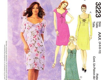 Sz 4/6/8/10 - McCalls Dress Pattern 3223 - Misses' Empire Dresses in Four Variations - McCall's Patterns