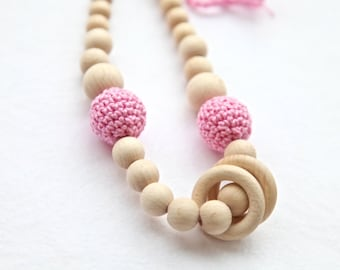 Pink simple nursing rings necklace. Girls crochet necklace. Mammy and baby teething necklace.