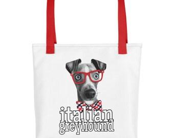 Italian Greyhound Tote   Dog with Glasses   Funny Greyhound Gift   Shopping Bag