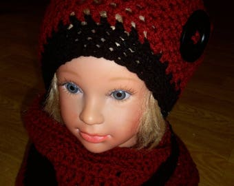 Set hat and Snood clouded rust color