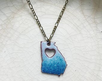 Sky Blue, Teal, And Peacock BluevHeart Stamped Enameled Georgia Necklace