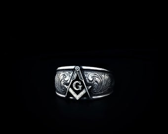 Rockin Out Jewelry - Masonic - Ring - Sterling - Silver - Engraved - Symbol - Men's - Antiqued - Western - Scroll