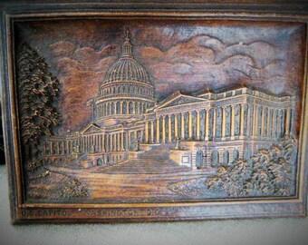 Vintage Faux Carved Wood Plaque of U.S. Capitol / Molded Bas Relief Plaque, U. S. Capitol - Washington, D. C.