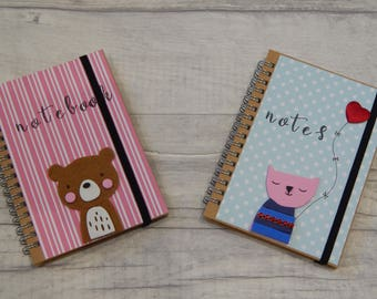 Hand decorated ring bound small notebook, cat lover notebook, teddy notebook,recycled cardboardnotebook.