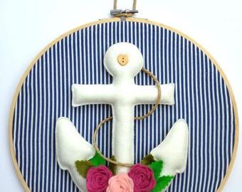 Felt anchor in hoop - big embroidery hoop with felt anchor and roses. Handmade wall hanging, nautical decor, nursery decor, beach house