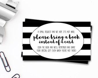 Bring a Book Instead of A Card - Black And White Stripes - Book Request Card - Gender Neutral Book Request - Black And White Bring A Book