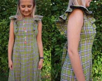 "True Vintage 1970s Maxi Cotton Dress Prairie Girl Style Bust 37"" Peasant Ruffles Boho Plaid FESTIVAL HIPPIE Medium"