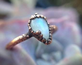Rainbow Moonstone   Moonstone   Moonstone Ring   Teardrop Moonstone   Mineral Ring   Ready-To-Ship