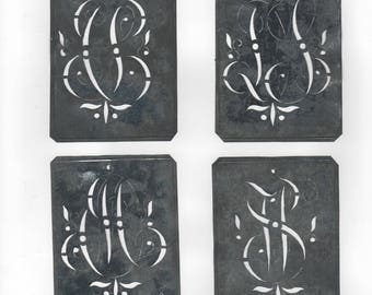 Monogram Embroidery Stencil Metal Large Victorian Initials
