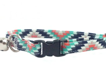 Southwest Inspired - Modern Geometric Colorful Safety Breakaway Cat or Kitten Collar