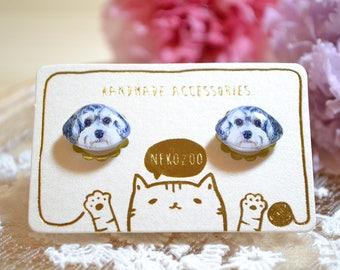 Maltipoo earrings handmade Tiny jewelry with linen cotton bag