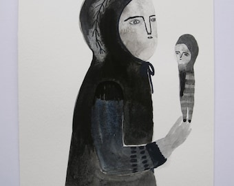 folk portrait - woman with doll figure - an original painting in gouache on paper
