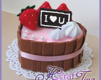 Heart-Shaped Chocolate Cream Cake PDF pattern - Style 3